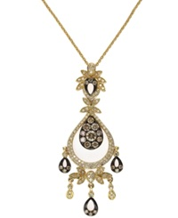 Effy Collection Espresso By Effy Brown And White Diamond Chandelier Pendant Necklace In 14K Gold 1 Ct. T.W.