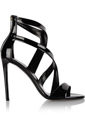 Tamara Mellon Tiger Patent Leather Sandals Black