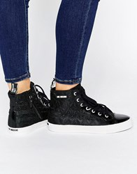 Love Moschino Black Quilted Hearts High Top Trainers Black 000
