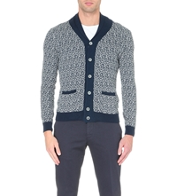 Slowear Shawl Collar Knitted Cardigan Nvy Gry Wht