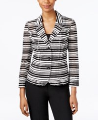Nine West Three Button Striped Seersucker Jacket Black Ivory