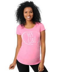 Motherhood Maternity Ruched Graphic Tee Pink