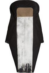 Rick Owens Denim Paneled Mesh And Cotton Tunic Black