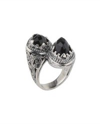 Konstantino Silver Twisted Double Onyx Ring