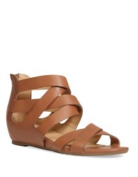 Me Too Alea Leather Back Zipper Strap Sandals Brown