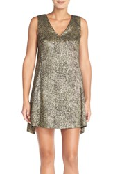 Tracy Reese Lame A Line Dress Antique Gold