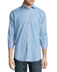 Neiman Marcus Long Sleeve Plaid Woven Sport Shirt Blue