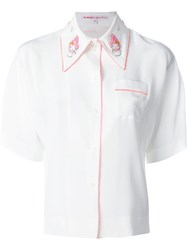 Olympia Le Tan Embroidered Collar Piped Shirt White