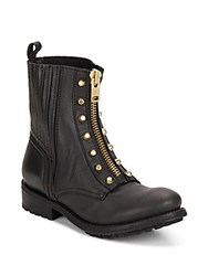 Ash Rachel Leather Zip Front Combat Boots Black Gold