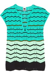 M Missoni Cotton Blend Crochet Knit Top Blue