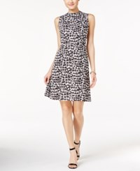 Nine West Mock Neck Houndstooth A Line Dress Black White