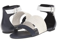 Armani Jeans Leather And Woven Eco Leather Sandal Blue