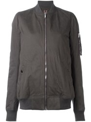 Rick Owens Drkshdw Zip Front Long Body Bomber Jacket Grey