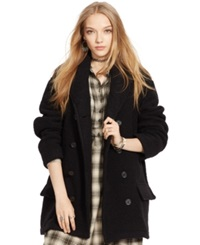 Denim And Supply Ralph Lauren Belted Shawl Collar Pea Coat Polo Black
