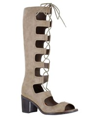 Mia Elija Lace Up Peep Toe Boots Taupe