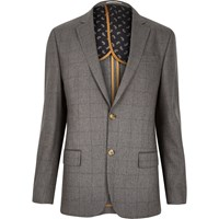 River Island Mens Grey Check Tailored Blazer