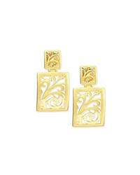18K Gold Open Scroll Drop Earrings Alex Soldier Grey