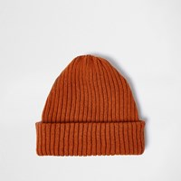 River Island Mensrust Orange Fisherman Beanie