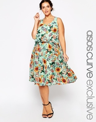 Asos Curve Midi Dress In Sunflower Print Multi