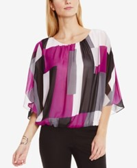 Vince Camuto Printed Poncho Blouse Plum Tart