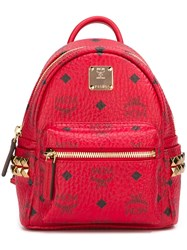 Mcm Logo Print Mini Backpack Red