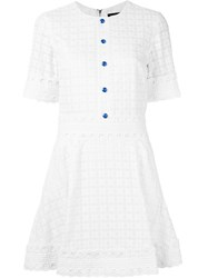 House Of Holland Embroidered Flared Dress White