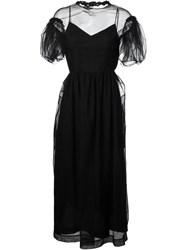 Simone Rocha Puff Sleeve Sheer Layer Dress Black