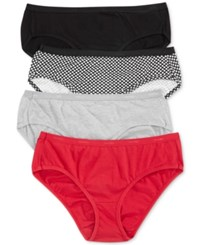 Hanes Platinum Cotton Hipster 4 Pack 41C4b1 Red Multi