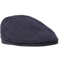 Lock And Co Hatters Melange Virgin Wool Flat Cap Storm Blue
