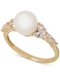 Macy's Freshwater Pearl 8Mm And White Topaz 5 8 Ct. T.W. Ring In 14K Gold