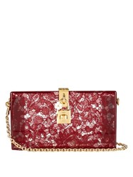 Dolce And Gabbana Lace Plexiglass Clutch Dark Red