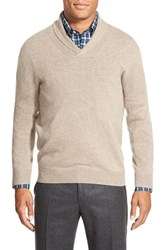 Men's Big And Tall Nordstrom Shawl Collar Cashmere Pullover Tan Portabella
