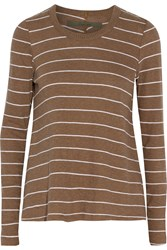 Enza Costa Striped Cotton And Cashmere Blend Sweater Brown