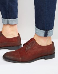 Asos Derby Shoes In Waxy Burnished Burgundy Leather Burgundy Grey