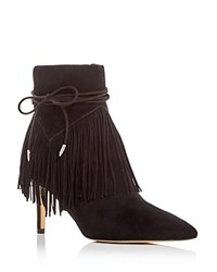 Sam Edelman Marion Fringe Pointed Toe High Heel Booties Black