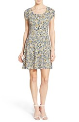 Women's Michael Michael Kors 'Chiltington' Print Jersey Cap Sleeve Fit And Flare Dress Sunflower Crew Blue