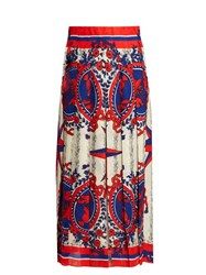 Gucci Carillon Print Pleated Midi Skirt Blue Multi