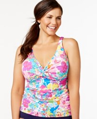 Anne Cole Plus Size Ruched Floral Tankini Top Women's Swimsuit