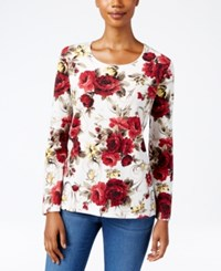 Karen Scott Petite Floral Print T Shirt Only At Macy's Winter White