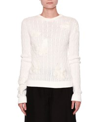 Valentino Cable Knit Butterfly Sweater Ivory