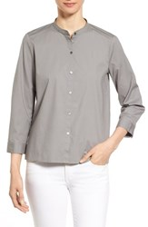 Women's Eileen Fisher Mandarin Collar Organic Cotton Shirt
