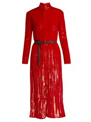 Nina Ricci Roll Neck Long Sleeved Velvet Dress Red