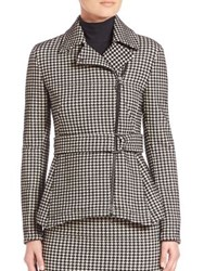 Akris Punto Wool Houndstooth Belted Peplum Jacket Black Cream
