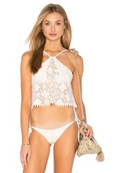Blue Life Tribal Halter Crop Bikini Top Cream