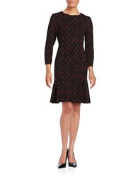 Tommy Hilfiger Printed Three Quarter Sleeve Flounce Dress Black Scarlet
