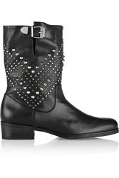 Schutz Aliria Studded Leather Ankle Boots Black