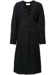Christophe Lemaire Belted Single Breasted Coat Black