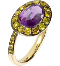 Annoushka Dusty Diamonds 18Ct Yellow Gold Amethyst And Diamond Side Ring