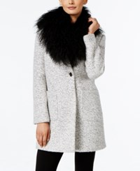 Calvin Klein Faux Fur Collar Marled Walker Coat Black White Tweed