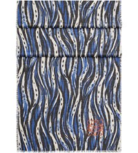 Loewe Abstract Animal Print Wool Silk And Cashmere Blend Shawl Royal Blue